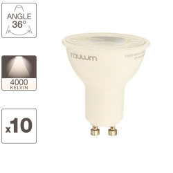 Set of 10 LED spot bulbs, GU10 base, 50W.eq ( 5W.cons), neutral white light