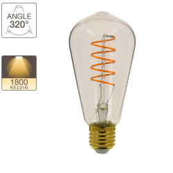 Vintage ST64 LED bulb, E27 base, 4W cons. (28W eq.), warm white light