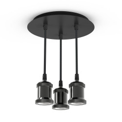 Triple adjustable round base suspension for bulbs with E27 base