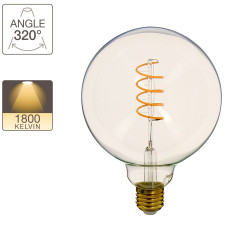 Vintage G125 LED bulb, E27 base, 4W cons. (28W eq.), warm white