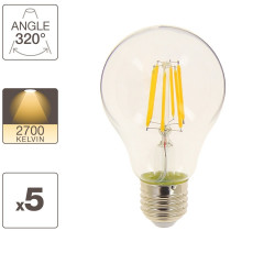 Set of 5 A60 bulbs, E27 base, 8W cons. (75W eq.), warm white