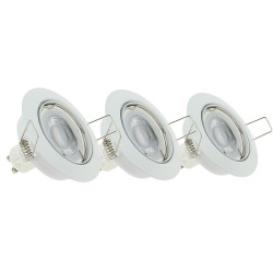 Set of 3 LED recessed spotlights in kit - neutral white light - GU10 spotlights included