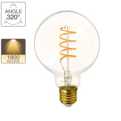 LED bulb (G95) / Vintage, E27 base, 4W cons. (28W eq.), 300 lumens, warm white light