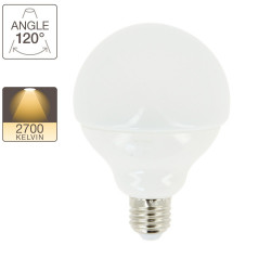 G95 LED bulb, E27 base, 11W cons. (60W eq.), warm white light