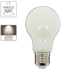A60 LED filament bulb, E27 base, 8W cons. (75W eq.), neutral white light