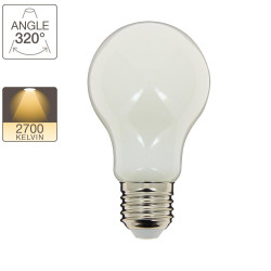 A60 LED filament bulb, E27 base, 8W cons. (75W eq.), warm white light
