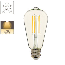 Edison LED filament bulb, E27 base, 8W cons. (75W eq.), warm white light
