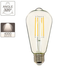 Edison LED filament bulb, E27 base, 8W cons. (75W eq.), neutral white light