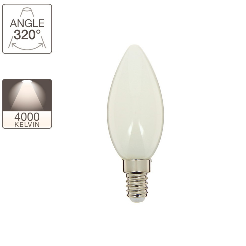 RetroLED flame bulb, E14 base, 4W cons. (40W eq.), neutral white light