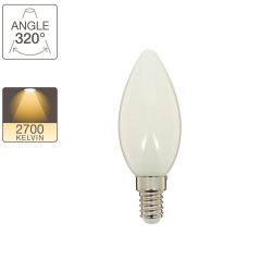 LED flame filament bulb, E14 base, 4W cons. (40W eq.), warm white light