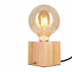 Wooden cube table lamp + globe bulb G125 Vintage included