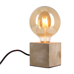 Concrete CUBE table lamp (E27 base) + Vintage smoked globe bulb