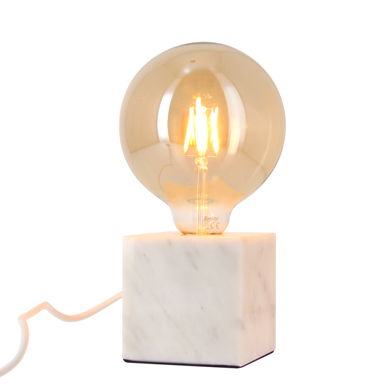 White marble cube table lamp + globe bulb G125 Vintage included