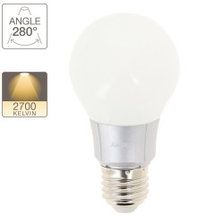 A60 LED bulb, E27 base, 6.8W cons. (40W eq.), warm white light