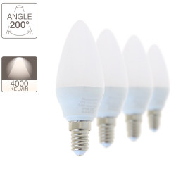 Lot de 4 ampoules LED flamme, culot E14, 5,5W cons. (40W eq.), lumière blanc neutre