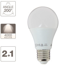 Set of 2 + 1 free A60 LED bulbs - E27 cuLot - neutral white light