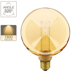 LED hologram decoration light bulb amber glass globe amber glass base E27 warm white