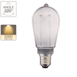 Edison Hologram LED decorative bulb, smoked glass, E27 base, 4W cons. 100 lumen, warm white light