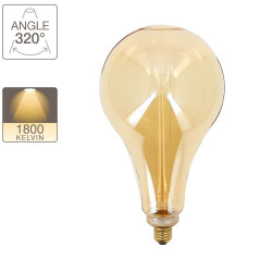 LED hologram hologram decoration light bulb drop (giant) amber glass E27 base warm white