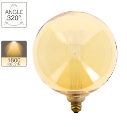 Giant Hologram LED decorative bulb (XXL) with amber glass, E27 base, 4W consumer, 180 lumen, warm white light