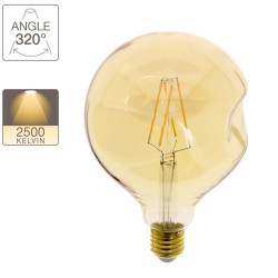 LED Globe bulb (G125) Irregular amber glass, E27 base, 6W cons. (60W eq.), 806 lumens, warm white light