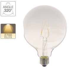 LED Globe bulb (G125) Irregular milk glass, E27 base, 6W cons. (48W eq.), 600 lumens, warm white light