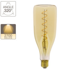 LED decorative bulb Amber glass bottle, E27 base, 4W cons. (30W eq.), 350 lumens, warm white light
