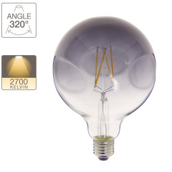 LED Globe Bulb (G125) Irregular with smoked glass, E27 base, 6W cons. (48W eq.), 600 lumens, warm white light