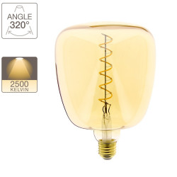 MUG LED decorative amber glass bulb, E27 base, 4W cons. (30W eq.), 323 lumens, warm white light