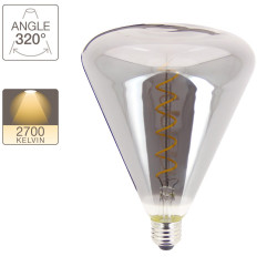 Triangle LED decorative bulb, smoked glass, E27 base, 4W cons. 200 lumen, warm white light