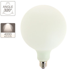 LED decorative light bulb Globe Opaline with milk glass, E27 base, 12W cons. (100W eq.), 1521 lumens, neutral white light