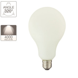 Deco illuminating opaline decoration bulb, E27 base, 12W cons. (100W eq.), neutral white (4000K)