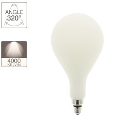 Illuminating decorative light bulb opaline, base E27, 24W.cons (185W eq.), neutral white light (4000K)