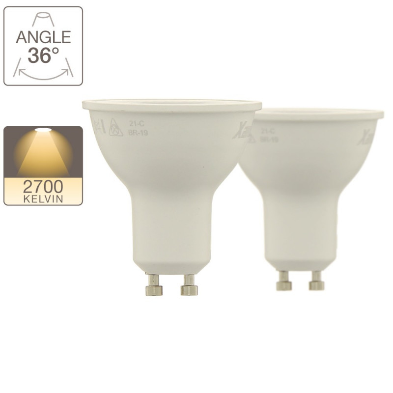 Set of 2 LED spotlight bulbs with GU10 base, 6W cons. (65W cons.), warm white light
