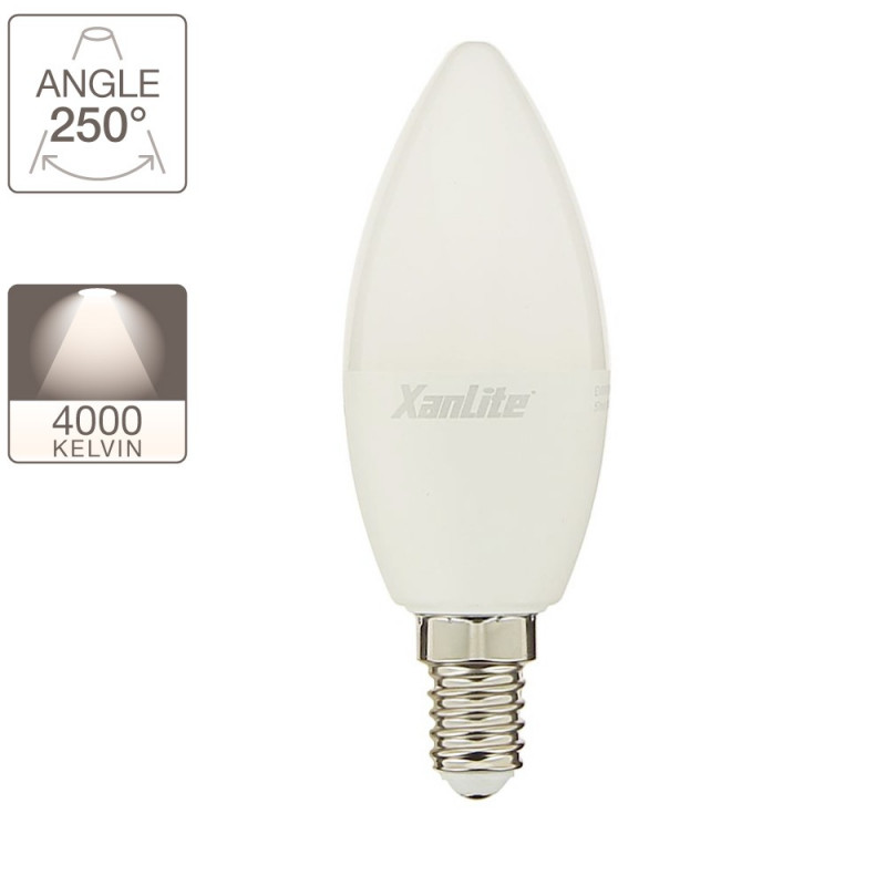 LED flame bulb, E14 base, 6W cons. (40W eq.), neutral white light