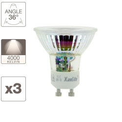 Lot x3 Ampoule spot LED, culot GU10, 5,5W cons. (50W eq.), blanc neutre (4000K)