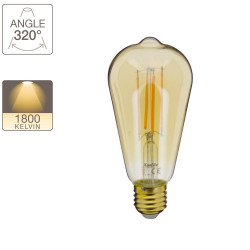 LED decorative bulb Edison Vintage in amber glass, E27 base, 7W cons. (50W eq.), 638 lumens, warm white light