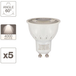 Lot de x5 ampoules spot LED, culot GU10, 5,6W cons. (50W eq.), blanc neutre