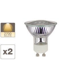 Lot de x2 ampoules 18 LED spot, culot GU10