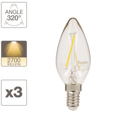 Lot de x3 ampoules LED flamme, culot E14,