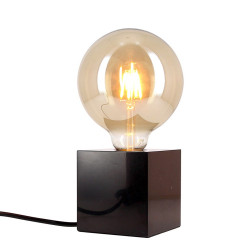Black marble CUBE table lamp (E27 base) + Vintage smoked globe bulb