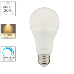 Ampoule LED standard, culot E27, 11,2W cons. (75W eq.), blanc chaud, dimmable