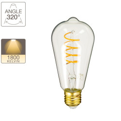 LED bulb (ST64) Edison / Vintage, E27 base, 4W cons. (28W eq.), 300 lumens, warm white light