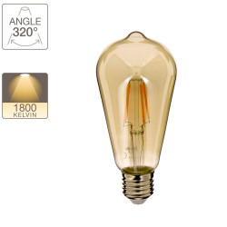 LED bulb (ST64) Edison / Vintage in smoked glass, E27 base, 4W cons. (23W eq.), 230 lumens, warm white light
