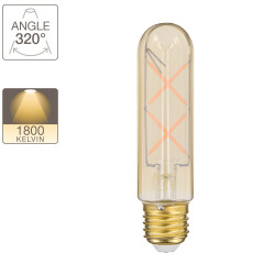 LED bulb (T125) Tube / Vintage in amber glass, E27 base, 4W cons. (30W eq.), 323 lumens, warm white light