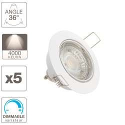Set of 5 flush fitted spotlights - neutral light - dimmable