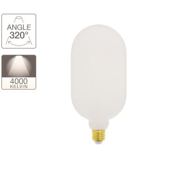 Decorative LED light bulb Gas bottle Opaline with milk glass, E27 base, 8W cons. (60W eq.), 806 lumens, neutral white light