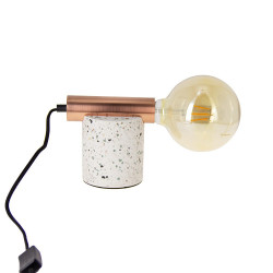 ÉCLIPSE table lamp in terrazzo & copper-plated metal, E27 base