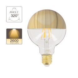 LED bulb G95 Gold, E27 base, 8W cons. (62W eq.), 360 lumen, warm white light
