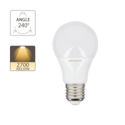 LED bulb (A60), E27 base, consumer 5W (eq. 40W), 470 lumen, warm white
